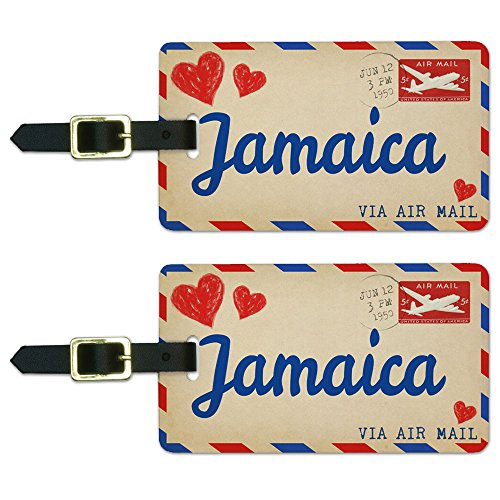 Graphics & More Air Mail Postcard Love for Jamaica Luggage Suitcase Carry-on Id Tags, White