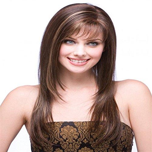 Longlove nouveaux Mode du milieu Naturel courte Big ondulés Cheveux humains pleine Perruques pour femme ou filles