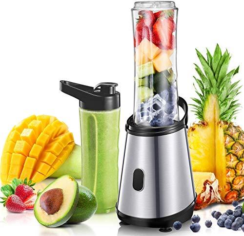Mixer, Personal Blender Smoothie Maker mit 2 titanbeschichteten Edelstahlklingen, Mini Blender mit 2 BPA für Saft, Milchshake und Smoothies, 300 W, Silber