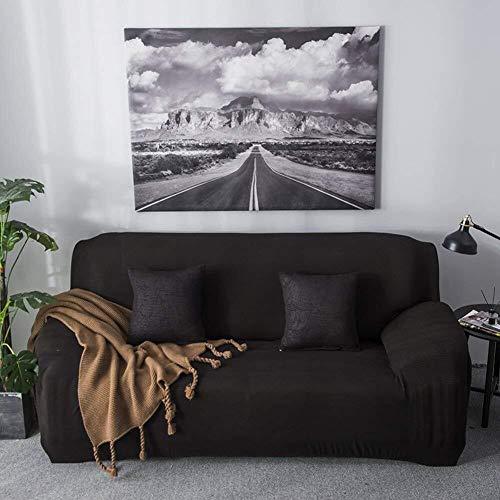 ZHENYUE Sofa Cover Stretch, 1 stuk Jacquard Sofa Gooi Wafelsofa Polyester Fest Kleur Macchia Duurzame bank Cover-Geel (Color : Zwart, Maat: Armchair)