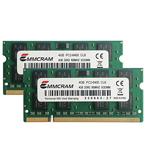 EMMCRAM 8GB (2 x 4GB) PC2-6400 DDR2-800 200PIN SoDIMM Laptop RAM Non-ECC Unbuffered Notebook Memory for Dell E6400,E6500, Inspiron 1545, M4400,E5500
