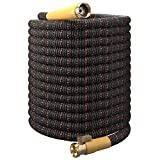 Expandable Garden Hose Kit 50-100 ft - Superior Strength 3750D - 4-Layers Latex, Extra-Strong Brass Connector- 10-Way Durable Zinc Water Spray Nozzle 2 Way Pocket Flexible Splitter (100FT ONLY)