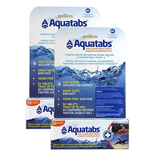 Aquatabs Lot de 2 comprimés de purification d'eau 49 mg (8,5 mg Actif)