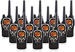 Midland GXT1000 GMRS Walkie Talkie - Long Range Two Way Radio with NOAA Weather Scan + Alert, 50 Channels, and 142 Privacy Codes (Black/Silver, 12 Radios)