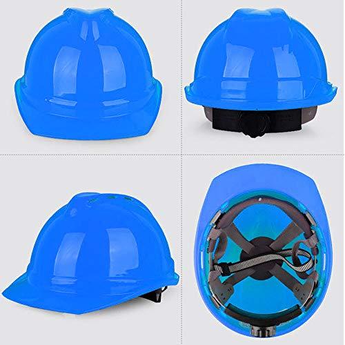 MASO EN397 - Casco de seguridad para sombrero duro, 5 colores, 4 puntos, unisex, rueda de bloqueo de giro con ventilación para guía, potencias, arquitecto, escalera, ingenieros, azul