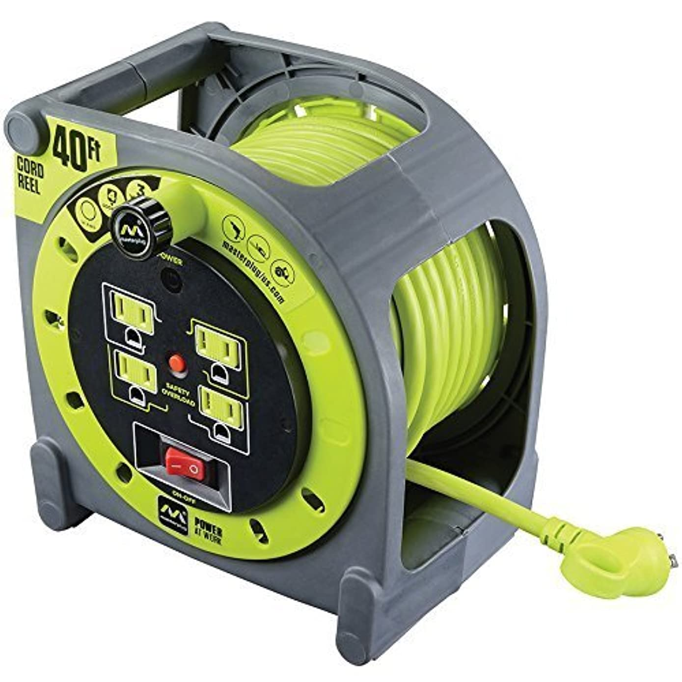 Masterplug 40ft Extension Cord Case Reel with 4 120V / 13 amp Integrated Outlets and Thermal Overload Breaker