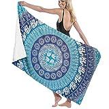 WKLNM Hippie Elephant Mandala Blue Bohemian Art Toalla de baño Toalla de Playa Grande Manta Microfibra Secado rápido Absorbente Adicional Toalla sin Arena 32 'X 52'