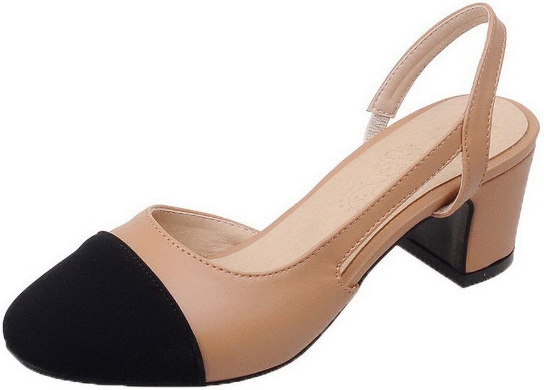 WeenFashion Women's Elastic Kitten-Heels PU Assorted color Pumps-shoes