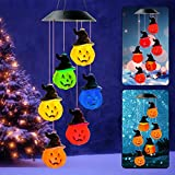 Pumpkin String light Wind Chimes Yellow Xmas Christmas NewYear Party Solar Light Color Changing Solar Powered Pumpkin Decor Mobile Light LED Wind Chime for Indoor Outdoor Garden Christmas Party