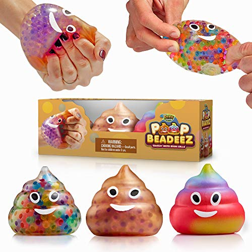 YoYa Toys Beadeez Poop Stress Relief Balls (Set of 3) - Anxiety Relief Squeezing Squishy Balls for Kids and Adults - Funny Fidget Sensory Toy Filled with Water Beads - ADHD Hand Finger Exerciser