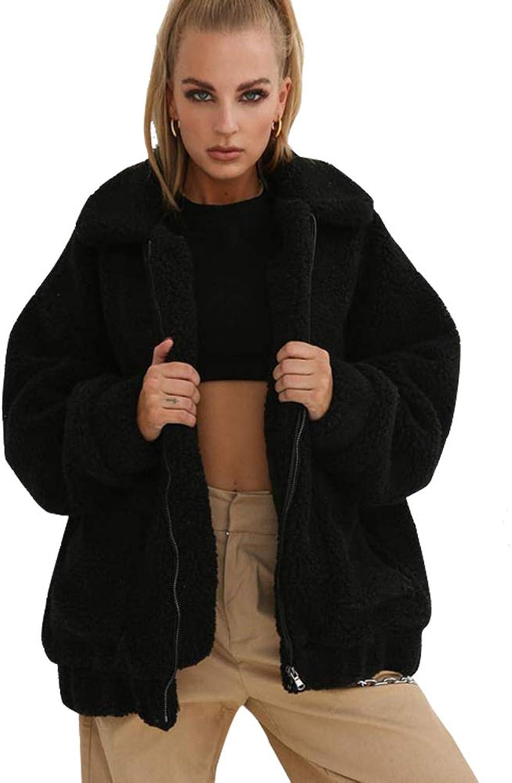 Youngdemo Women's Long Sleeve Lapel Zip Faux Shearling Shaggy Oversized Coat Jacket Pockets Warm Winter