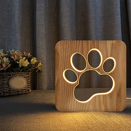otutun Luz de Noche, Pata de Perro Lámpara de Mesa Animal Luz de Noche de Madera para Gatos y Perros Madera Tallada USB Lámpara Creativa Madera 3D de La Lámpara Ideal para Decoración de Habitaciones