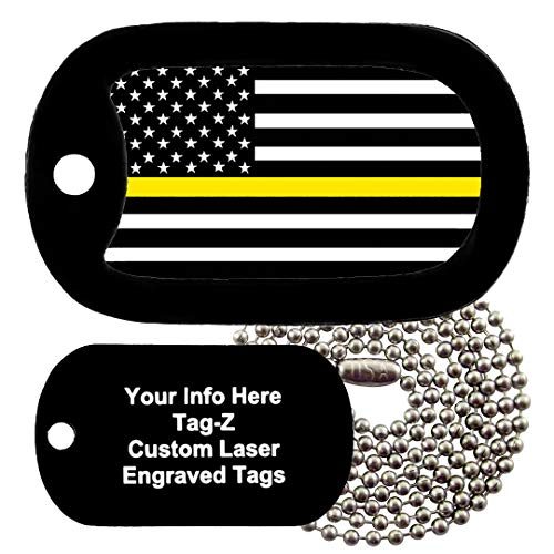 Tag-Z Thin Gold LINE - Dispatchers - Customized - Engraved Necklace Military Dog Tags