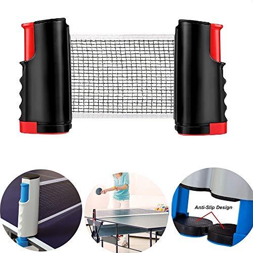 GTKY Red Tenis Mesa retráctil, Estante Profesional Red Poste Ping Pong, Red Tenis Mesa y Juegos Postes con Extensible para Cualquier Entrenamiento Entretenimiento Familiar Mesa (Red and Black,2PCS)