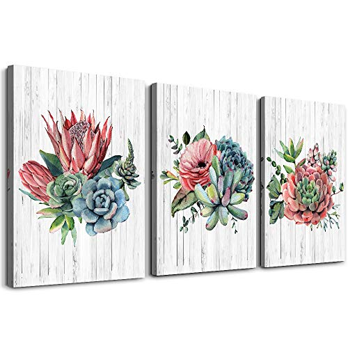 cactus Flowers Modern Canvas Wall Art for Bedroom Wall Decorations for Living Room Bathroom Wall Decor 3 Panels Wall Watercolor Painting Home Decoration Kitchen Canvas Print Plants framed Artwork
