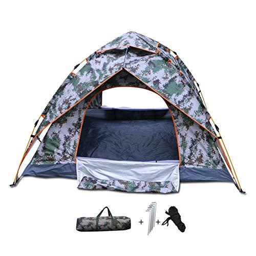 Barture Tente De Camping 3-4 Personne Couche Double Étanche Tente De Camouflage Automatique avec Sac De Rangement Convient pour La Randonnée Et Le Camping