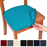 smiry Stretch Spandex Jacquard Dining Room Chair Seat Covers, Removable Washable Anti-Dust Dinning Upholstered Chair Seat Cushion Slipcovers - Set of 6, Peacock Blue