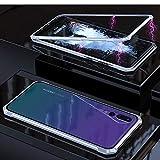 Fundas rígidas para teléfonos móviles Funda de cristal moderado del tirón del imán del marco angular de la adsorción magnética ultra delgada for Huawei P20 favorable Fundas duras ( Color : Silver )