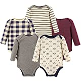 Hudson Baby Unisex Baby Cotton Long-Sleeve Bodysuits, Burgundy Football, 3-6 Months