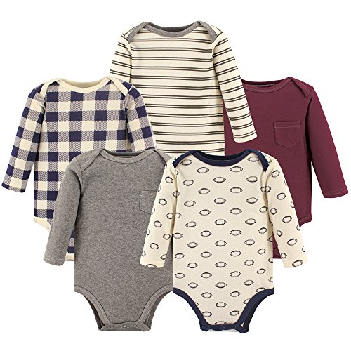Hudson Baby Unisex Baby Cotton Long-Sleeve Bodysuits, Burgundy Football, 3-6 Months