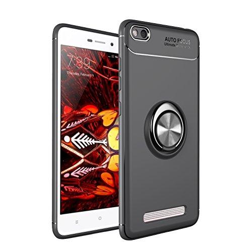 LUCKY Funda XiaoMi Redmi 4A Case, 360 Grados Caso Carcasa Case Cover Skin móviles telefonía Fundas Magnético Coche Kickstand Carcasa rotación Metal Anillo Soporte cajapara-Negro