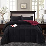 HIG 3pc Down Alternative Comforter Set - All Season Reversible Comforter with Sham - Quilted Duvet Insert with Corner Tabs - Box Stitched - Super Soft, Fluffy (Twin/Twin XL, Black)