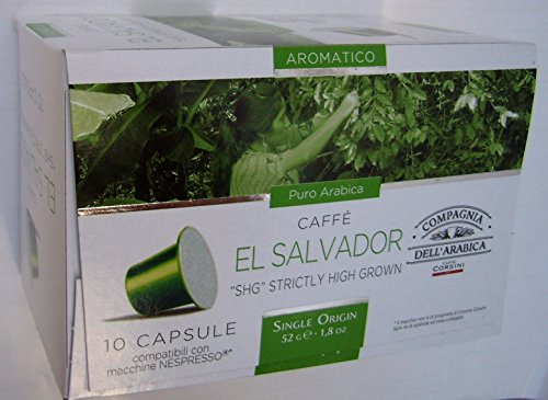 Nespresso Compatible Capsules Single Origin Compagnia dell'Arabica - EL Salvador 'SHG' Strictly HIGH Grown - 10 caps / Box (Total: 30 caps)