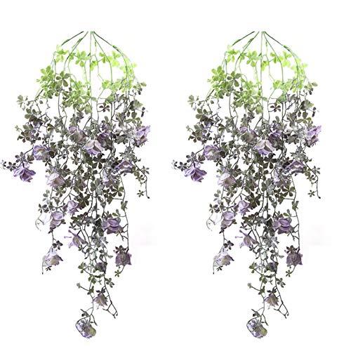 STOYRB Paquete de 2 plantas colgantes artificiales, hojas de vid de hiedra falsas para colgar flores, helechos, vides de ratán, flores de seda, cuerda para el hogar, fiesta, boda, decoración, morado