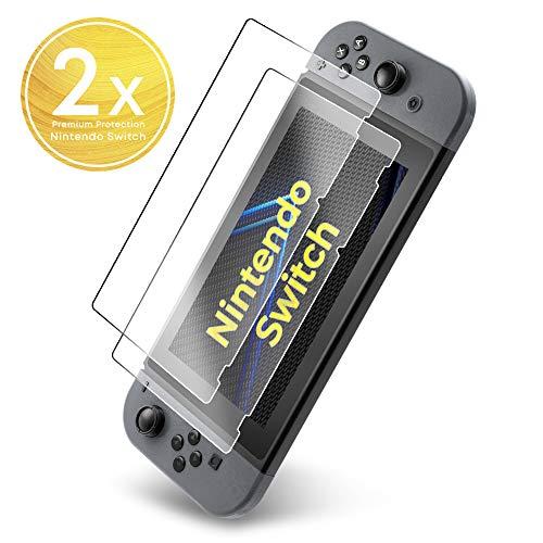 UTECTION 2X Display Schutzglas Folie für Nintendo Switch 2017 & 2018 - Schutzfolie aus Glas gegen Displayschäden - Passgenaue Displayschutzfolie Anti Kratzer - 2 Stück Durchsichtig Clear