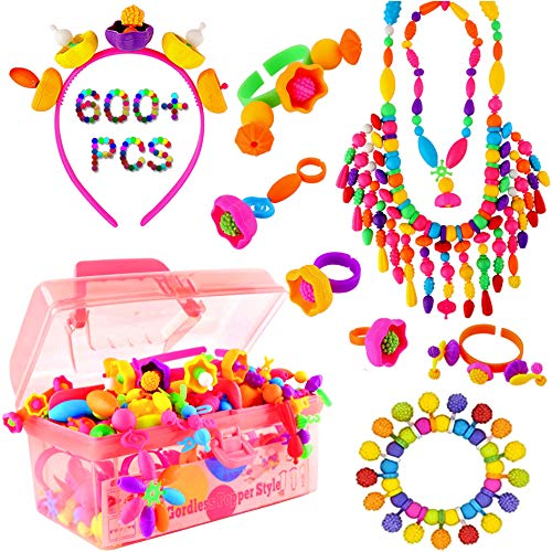 Vickid Pop Beads, Arts and Crafts for Kids Girls Age3,4,5,6,7,8,9-Best Birthday Toy,DIY for Kids-Bracelet Necklace Ring Jewelry Making Kit,Friendship Bracelets Maker(580pcs)