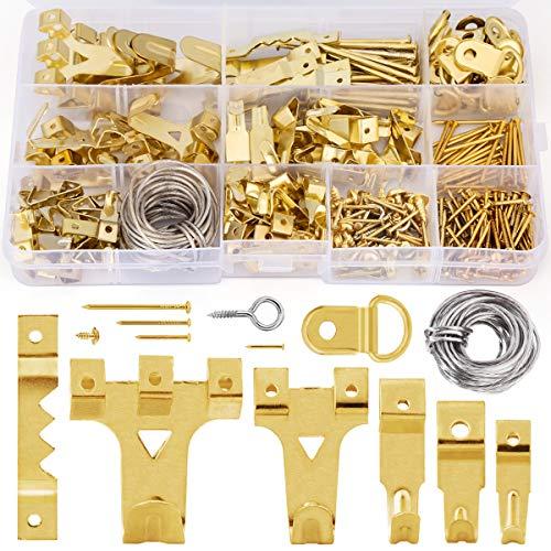 Wukong Ganchos para cuadros,276PCS Juego de ganchos para colgar cuadros Gancho para cuadros de pared dura para trabajos pesados con cable para colgar cuadros de 3M