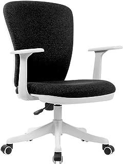Muebles Silla ergonómica ergonómica para computadora de tela con respaldo medio, Silla de oficina de estudio Sillas de escritorio giratorias de lino, altura ajustable |Rotación de 360 °, en negro