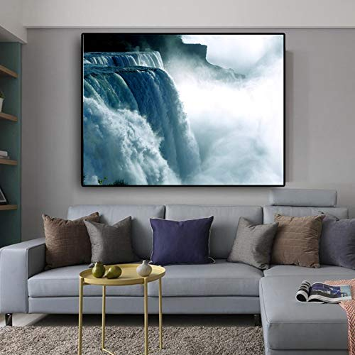 Landschaftsdruck Niagara Wasserfall Leinwand Malerei Moderne Poster Wandbilder für Wohnzimmer Quadro Home Dekorative Bild Gr R2 40x50 CM (kein rahmen)