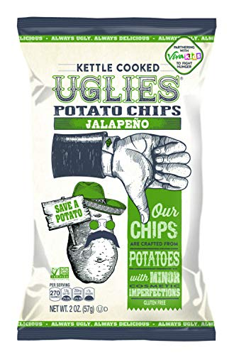 UGLIES 12 Pack Kettle Cooked Jalapeño Potato Chips - Gluten Free, Kosher, Non-GMO Office and Kids Snack - Individual Lunch Snack Packs - 2 oz Bags