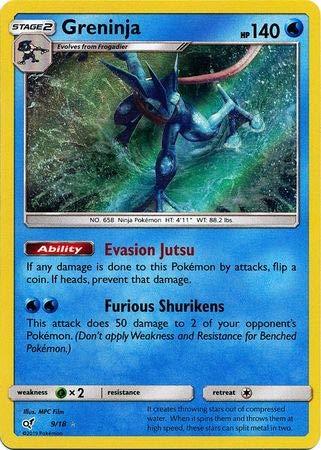 Greninja - 9/18 - Holo Rare Juego de cartas de Trading | Detective Pikachu Singles
