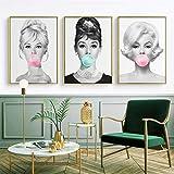 3 Stück Audrey Hepburn Kaugummi Leinwand Wandkunst Mode