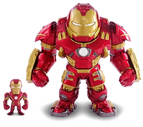 Jada Toys Marvel Figur Hulkbuster & Ironman, Helm zum Öffnen und Schließen, Sammelfiguren, Set, Die-cast, rot, Größe: 6 Zoll Hulkbuster & 2 Zoll Ironman