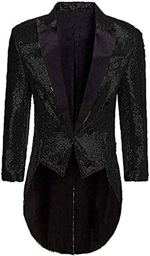 MiBotong Mens Slim Fit Shiny Tuxedo Jacket Casual Buttons Fly Jackets Costumes