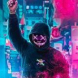 ALINILA Mascaras Carnaval de Terror LED MáScara Luminosa,Purga Grimace Mask 3 Modos de Parpadeo Controlables y Diferentes,para DecoracióN de Disfraces de Fiesta de Carnival…