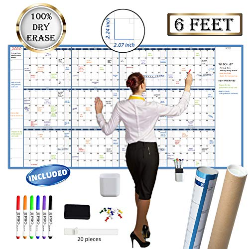 "Large Dry Erase Wall Calendar - 38"" x 72"" - Undated Blank 2020-2021 Reusable Yearly Calendar - Giant Whiteboard Annual Poster - Laminated Office Jumbo 12 Month Calendar"