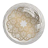 Zuyoon Cabinet Hardware Knobs Golden Mandala Cabinet Knobs and Handles Round Crystal Glass Bathroom Knobs for Kids (4pcs) 1.38x1.10IN