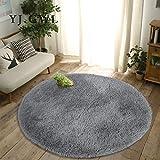 YJ.GWL Ultra Soft Round Fluffy Area Rugs for Girls Bedroom Anti-Slip Shaggy Nursery Rug Kids Room Carpets Cute Children Play Mat 6 Feet Grey