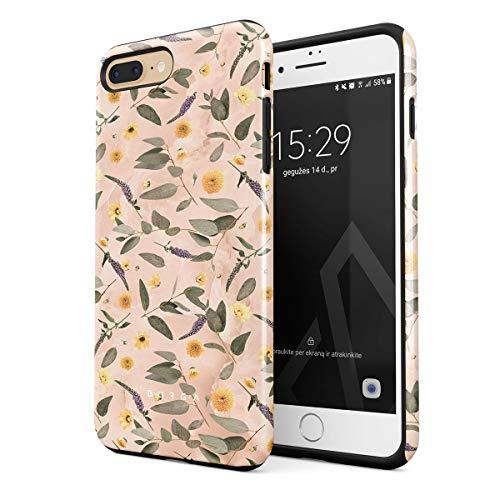 Burga - Carcasa para iPhone 7 Plus/8 Plus, diseño de flores de mármol de melocotón y hojas de eucalipto, diseño vintage, resistente a los golpes, doble capa y funda protectora de silicona