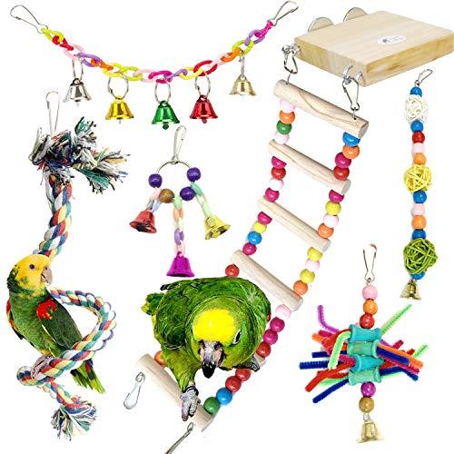 PietyPet Giochi per Uccelli pappagalli, 6 Pezzi Legno Posatoi con Scalette Giocattolo Giocattoli Gabbia, Corda Trespoli Perch per Piccoli e Medio Uccelli Parrocchetti