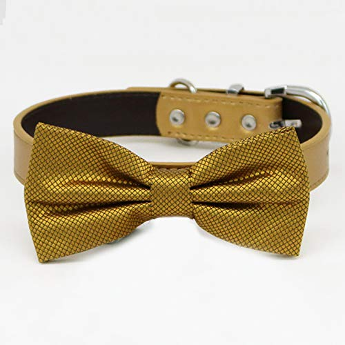 Gold bow tie collar Limited price XS Pu XXL and adjustable OFFer to