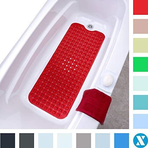 SlipX Solutions Extralange Badematte mit rutschfestem Halt für Wannen und Duschen - 30% länger als Standardmatten! (200 Saugnäpfe, 99 cm lang - erweiterte Abdeckung, maschinenwaschbar, rot)