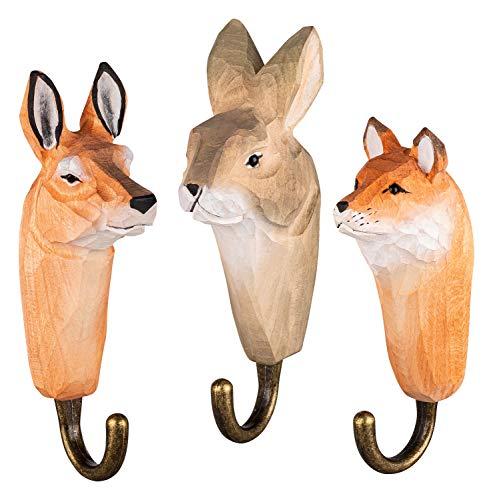 3 Colgadores de Pared Ganchos de Madera para Ropa, Animales del Bosque: Ciervo, Zorro y Conejo, hechos a mano, con Ganchos de Metal