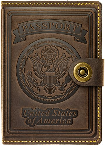 Villini - Leather US Passport Holder Cover RFID Blocking ID Card Wallet - Travel Case (Brown Vintage)