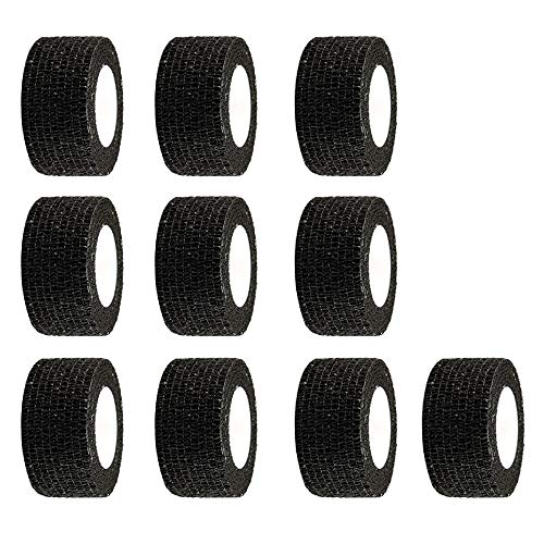 ESUPPORT 1 Inches X 5 Yards Black Self Adherent Cohesive Wrap Bandages Adhesive Wounds Strong Elastic First Aid Tape for Sport Wrist Ankle 10 Count