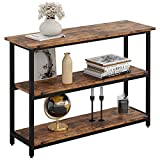 IRONCK Sofa Table, Console Table with Storage, Narrow Hallway Table for Entryway, Space-Saving, 3 Tier Rustic Media Stand for Living Room, Industrial Style, Vintage Brown